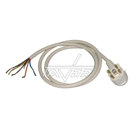 WHITE CABLE 1.5 MT WIRE 5X2.5MM2, WITH MOLDED PLUG MODEL 3P+N+E