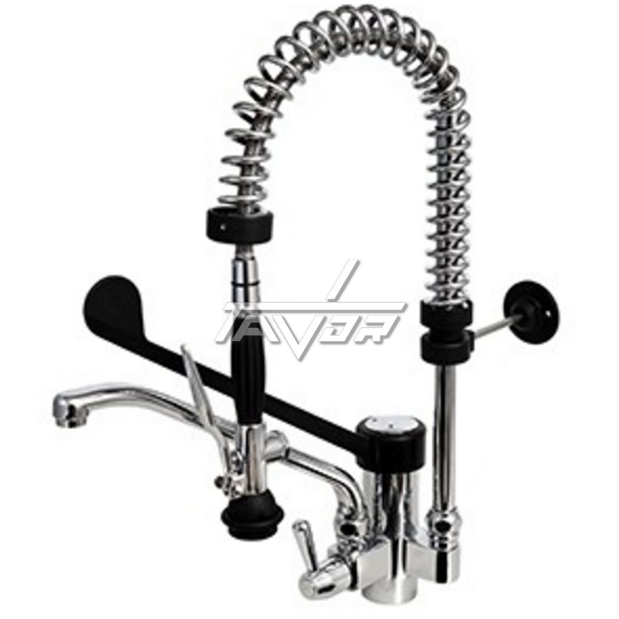 FAUCET - COMPLETE SET OF ONE HOLE SINK MIXER TAP  WITH SPRING AND WITH SHOWER HEAD WITH BLACK CLINICAL LEVER SMALL MODEL - HEIGHT 610 MM FOR INDUSTRIAL KITCHEN -MONOLITH - ITALY