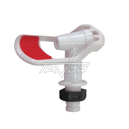 Faucet With A Nut For A Water Dispenser For Hot Water With Red Handle