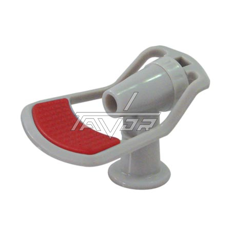 Faucet For Hot Water Gray Body With Red Handle Female Thread 3/8