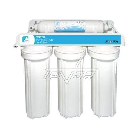 WATER PURIFICATION SYSTEM  4 STAGES FILTRATION WITH WATER FILTERS PP, GAC,CTO, T-33 AND WITHG A PLASTIC BRACKET AND PLASTIC ADAPTERS AND WHITE COLOR FILTER HOUSINGS