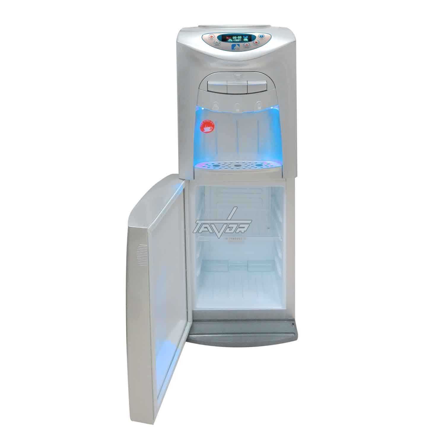 Floor Standing Water Dispenser With 3 Taps And Bottom Refrigerator Model LC20-L03NP Silver Color Body With Silver Front Color- Digital