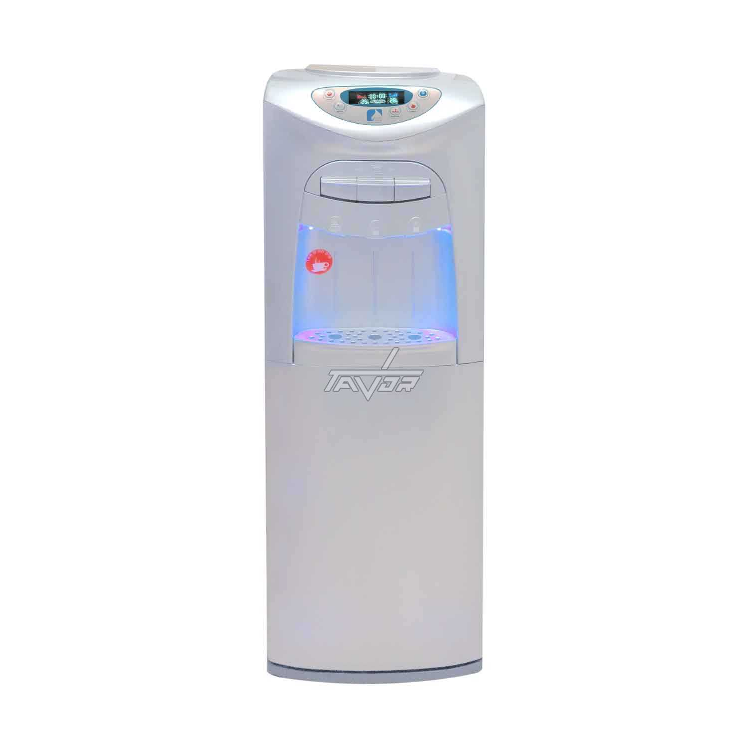 FLOOR STANDING WATER DISPENSER DIGITAL WITH 3 TAPS MODEL LC20-BL03NP WITH SILVER BODY AND SILVER FRONT PANEL WITHOUT A REFRIGERATOR