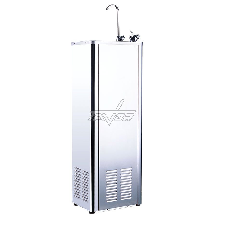 WATER FOUNTAIN WITH A DIRECT CHILL - STAINLESS STEEL  FLOOR-STANDING  WATER COOLER WITH 2 FAUCETS  MODEL YLR-600E